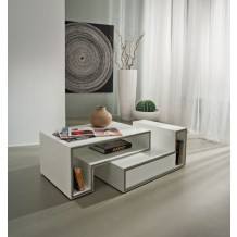 Table basse blanche moderne 1 tiroir blanc &quot;Cube&quot;