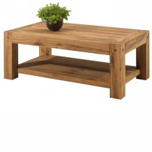 Table basse double plateaux chne massif huil