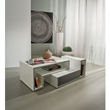 Table basse blanche moderne 1 tiroir gris &quot;Cube&quot;