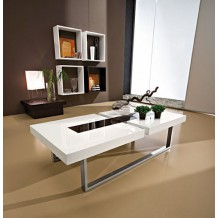 Table basse moderne blanche/noire &quot;Julien&quot; 125cm