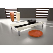 Table basse rectangulaire blanche/noire &quot;Yvons&quot; 110cm