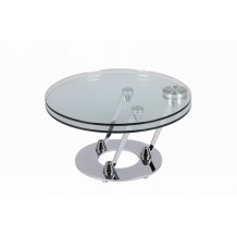 Table basse ronde moderne verre &quot;Cristal&quot;