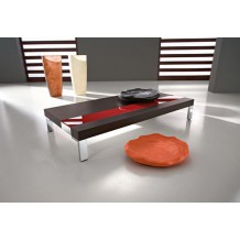 "Table basse rectangulaire marron/rouge ""Yvons"""