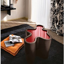 "Table basse moderne rouge ""Tâche-Tâche"" 73cm"