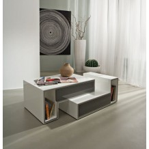 Table basse blanche moderne 2 tiroirs gris &quot;Cube&quot;