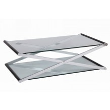 Table basse croisillon moderne verre &quot;Cristal&quot;