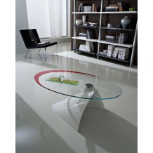"Table basse moderne verre blanche/rouge ""Paolo"""