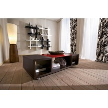 "Table basse sur roulette marron/rouge ""Greg"""