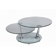 Table basse ronde verre moderne &quot;Cristal&quot; 83cm