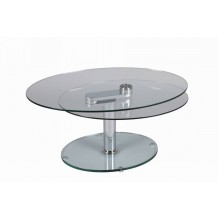 Table basse ovale verre &quot;Cristal&quot;