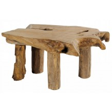 "Table basse teck massif brut ""Farmer"""