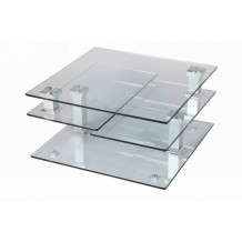 Table basse carre moderne verre &quot;Cristal&quot;
