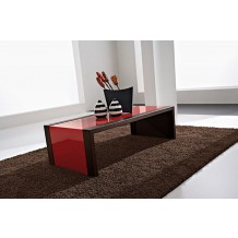 "Table basse moderne verre rouge ""Carla"" 110cm"