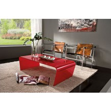 "Table basse verre rouge ""Camille"" 110cm"