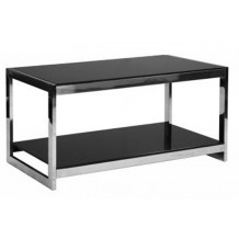 Table basse verre tremp noir 2 niveaux
