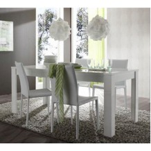 Table moderne blanc laque &quot;Trendy&quot; 160cm