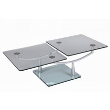 "Table basse rectangulaire moderne verre ""Cristal"""
