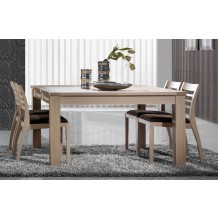 Table carre avec 1 allonge chne massif &quot;Clara&quot; 135cm