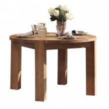 Table ronde en chne massif huil 120cm + allonge &quot;Lodge&quot; Casita