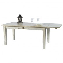 Table de repas pin massif 160cm crus blanc Solea