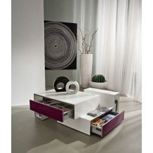 Table basse blanche moderne 2 tiroirs gris&quot;Cube&quot;