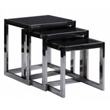 Tables gigogne verre tremp noir