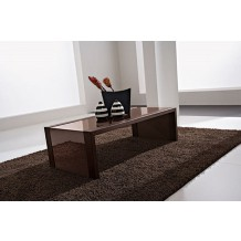 "Table basse moderne verre marron ""Carla"" 110cm"
