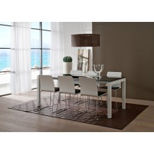 Table moderne blanche et noire &quot;Lucie&quot; 160cm