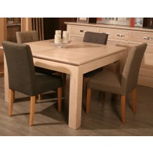 "Table carrée + allonge chêne massif ""Stockholm"" 125cm"