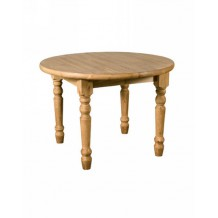 "Table ronde pin massif pieds tournés ""Brunswick"" Casita 129cm"