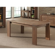 Table de repas teck massif avec allonge &quot; Vieux teck&quot; 170cm