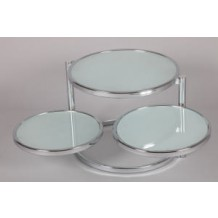 Table basse moderne 3 plateaux en verre blanc