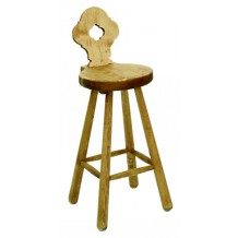 Tabouret de bar pin massif &quot;P'tit Coeur&quot;