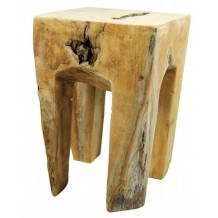 Tabouret carr teck massif brut &quot;Farmer&quot;
