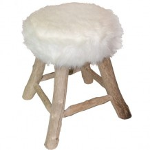 Tabouret fourrure blanc &quot;Nandertal&quot;