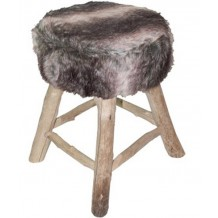Tabouret fourrure gris &quot;Nandertal&quot;