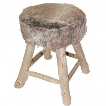 Tabouret fourrure Havane &quot;Nandertal&quot;