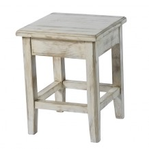 Tabouret pin massif crus blanc &quot;Solea&quot;Casita