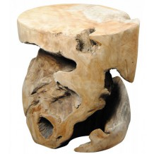 Tabouret rond teck massif brut &quot;Farmer&quot;