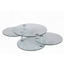 Table basse ronde 3 plateaux de verre &quot;Cristal&quot;