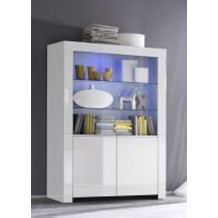 Vitrine moderne laque blanche &quot;Twice&quot;