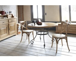Table salle manger meuble house for Table ronde bois et fer forge