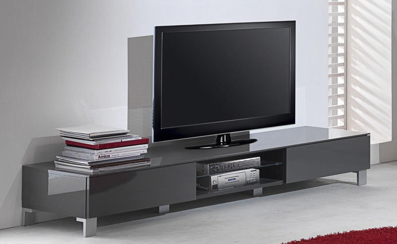 meuble tv design noir laque cavalli 175 cm. Black Bedroom Furniture Sets. Home Design Ideas
