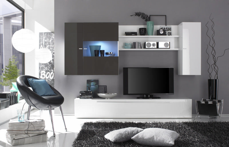 Meuble tv design home cinema integre solutions pour la for Meuble tele gris