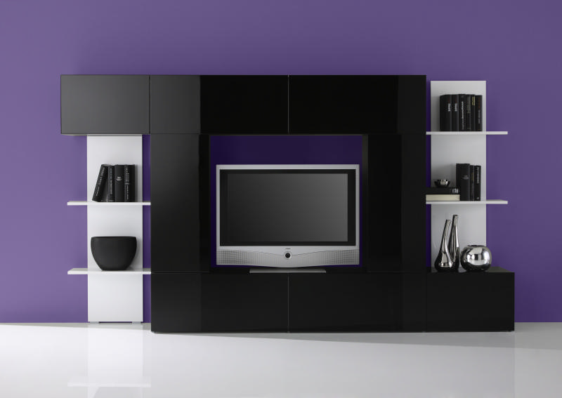 meuble tv meuble tele moderne laque noir et blanc. Black Bedroom Furniture Sets. Home Design Ideas